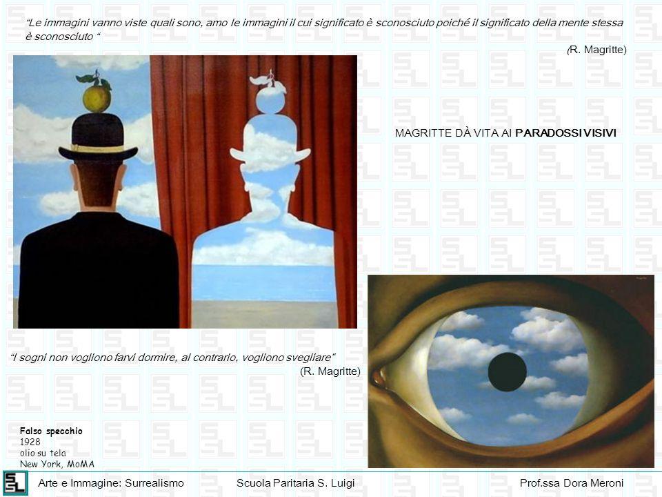 Arte e Immagine: SurrealismoScuola Paritaria S. LuigiProf.ssa Dora Meroni Le immagini vanno viste quali sono, amo le immagini il cui significato è sco