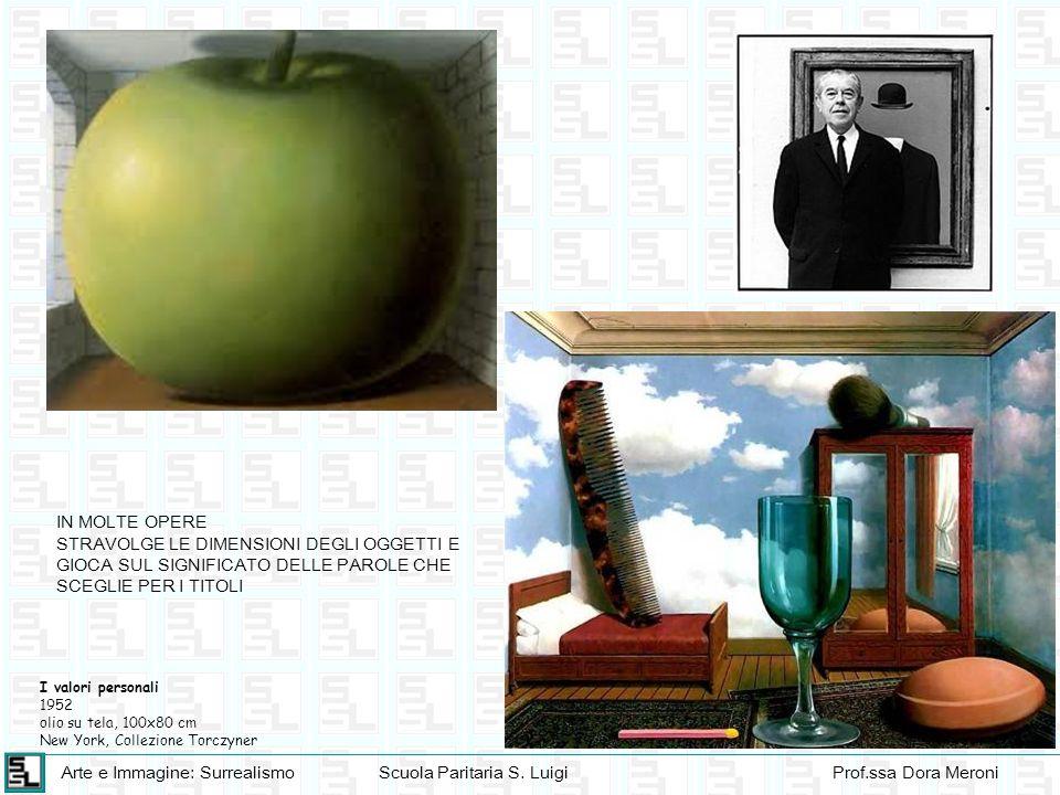 Arte e Immagine: SurrealismoScuola Paritaria S. LuigiProf.ssa Dora Meroni I valori personali 1952 olio su tela, 100x80 cm New York, Collezione Torczyn