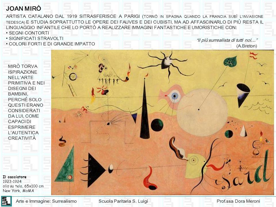 Arte e Immagine: SurrealismoScuola Paritaria S. LuigiProf.ssa Dora Meroni JOAN MIRÒ ARTISTA CATALANO DAL 1919 SITRASFERISCE A PARIGI ( TORNÒ IN SPAGNA