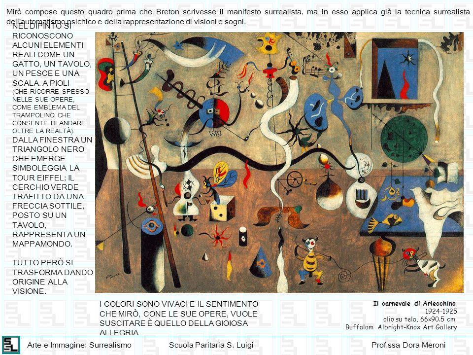 Arte e Immagine: SurrealismoScuola Paritaria S. LuigiProf.ssa Dora Meroni Il carnevale di Arlecchino 1924-1925 olio su tela, 66×90.5 cm Buffalom Albri