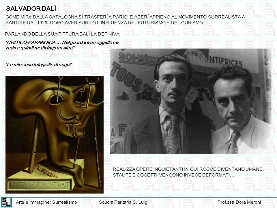 Arte e Immagine: SurrealismoScuola Paritaria S. LuigiProf.ssa Dora Meroni SALVADOR DALÌ COME MIRò DALLA CATALOGNA SI TRASFERÍ A PARIGI E ADERÍ APPIENO