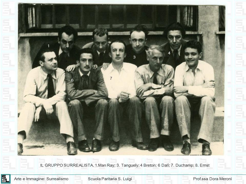 Arte e Immagine: SurrealismoScuola Paritaria S. LuigiProf.ssa Dora Meroni 1 6 7 8 4 IL GRUPPO SURREALISTA. 1.Man Ray; 3. Tanguely; 4 Breton; 6 Dalì; 7