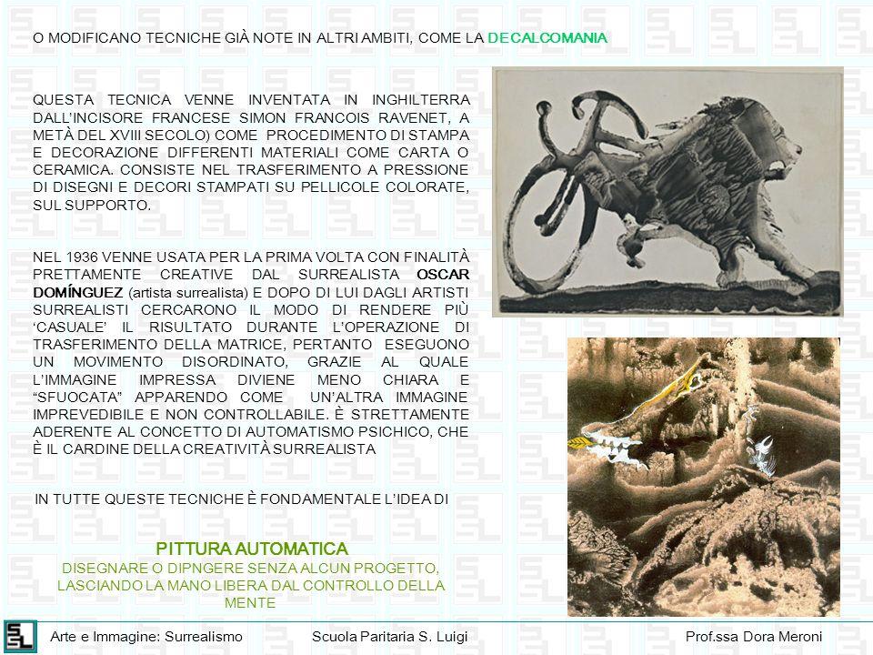 Arte e Immagine: SurrealismoScuola Paritaria S. LuigiProf.ssa Dora Meroni O MODIFICANO TECNICHE GIÀ NOTE IN ALTRI AMBITI, COME LA DECALCOMANIA QUESTA