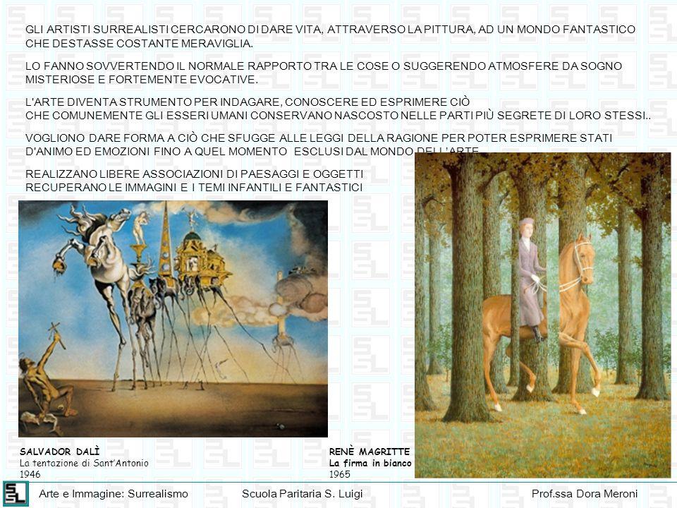 Arte e Immagine: SurrealismoScuola Paritaria S. LuigiProf.ssa Dora Meroni GLI ARTISTI SURREALISTI CERCARONO DI DARE VITA, ATTRAVERSO LA PITTURA, AD UN