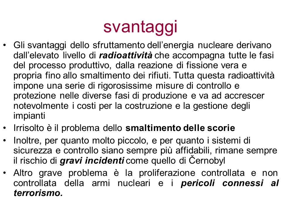 svantaggi Gli svantaggi dello sfruttamento dellenergia nucleare derivano dallelevato livello di radioattività che accompagna tutte le fasi del process