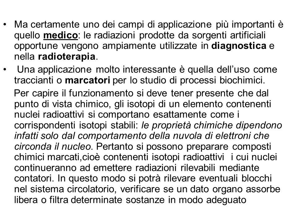 Ma certamente uno dei campi di applicazione più importanti è quello medico: le radiazioni prodotte da sorgenti artificiali opportune vengono ampiament
