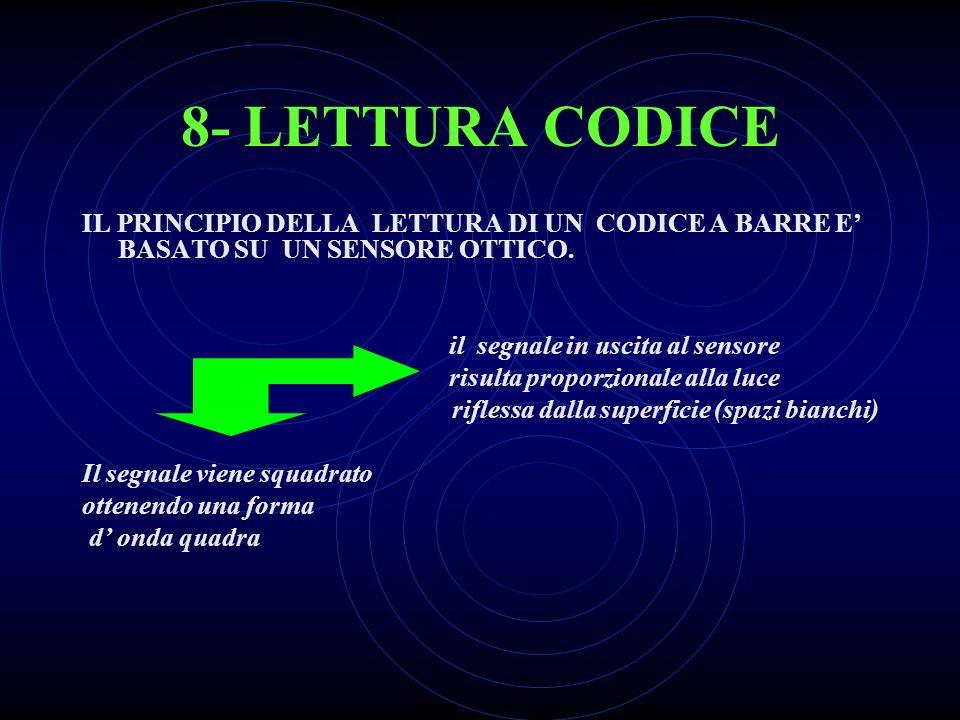 7- CODICE EAN Il sistema EAN è un codice composto da 13 cifre. Vengono utilizzate le cifre da 0 a 9 (solo numerico) ed è leggibile in entrambe le dire