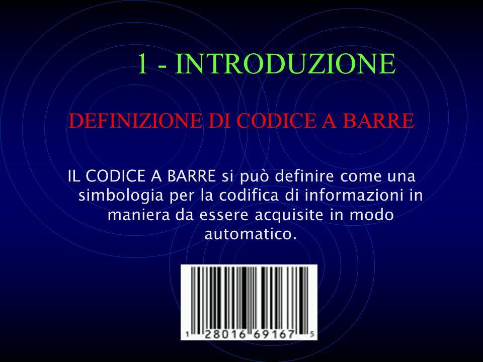 Indice 1. INTRODUZIONE 2. STORIA DEL CODICE A BARRE 3. CARATTERISTICHE DEL CODICE A BARRE 4. APPLICAZIONI DEI CODICI A BARRE 5. VANTAGGI RISPETTO AD A