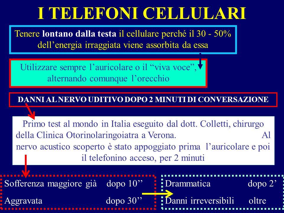 I TELEFONI CELLULARI Tenere lontano dalla testa il cellulare perché il 30 - 50% dellenergia irraggiata viene assorbita da essa Utilizzare sempre lauri