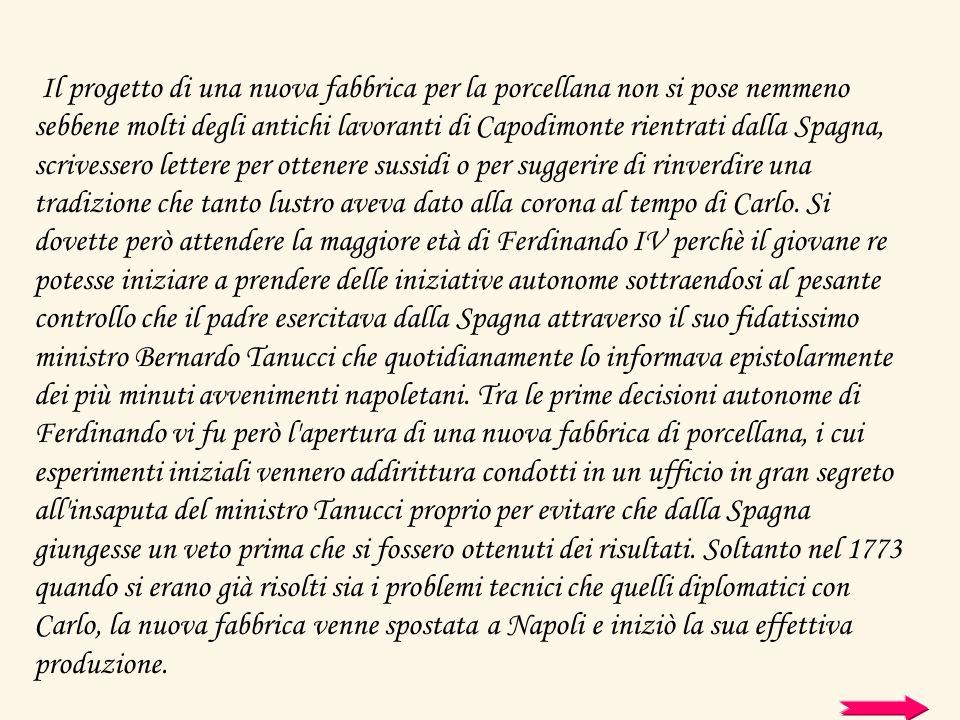 Il progetto di una nuova fabbrica per la porcellana non si pose nemmeno sebbene molti degli antichi lavoranti di Capodimonte rientrati dalla Spagna, s
