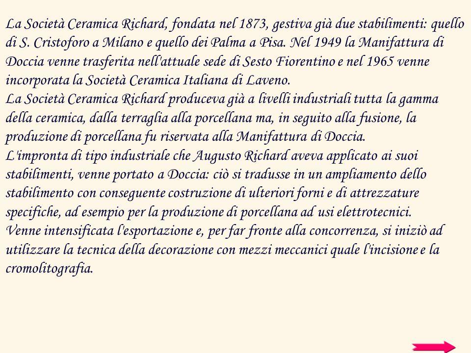 La Società Ceramica Richard, fondata nel 1873, gestiva già due stabilimenti: quello di S. Cristoforo a Milano e quello dei Palma a Pisa. Nel 1949 la M