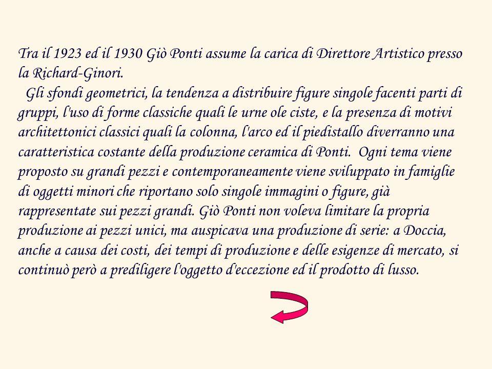 Tra il 1923 ed il 1930 Giò Ponti assume la carica di Direttore Artistico presso la Richard-Ginori. Gli sfondi geometrici, la tendenza a distribuire fi