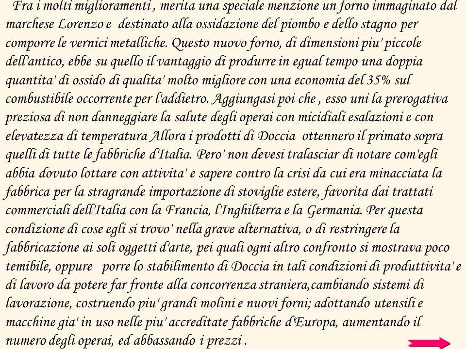 Fra i molti miglioramenti, merita una speciale menzione un forno immaginato dal marchese Lorenzo e destinato alla ossidazione del piombo e dello stagn
