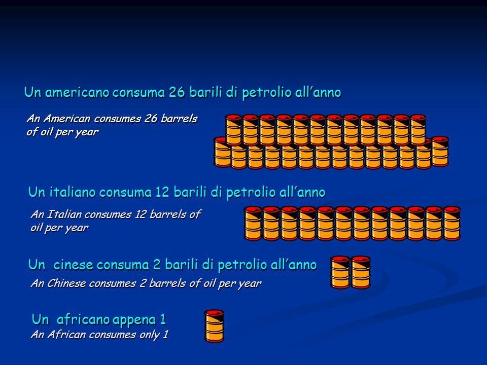 Un americano consuma 26 barili di petrolio allanno Un italiano consuma 12 barili di petrolio allanno Un cinese consuma 2 barili di petrolio allanno Un