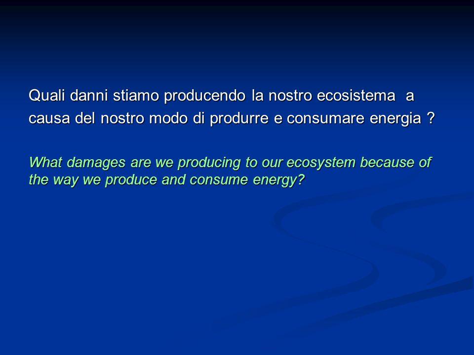 Quali danni stiamo producendo la nostro ecosistema a causa del nostro modo di produrre e consumare energia ? What damages are we producing to our ecos