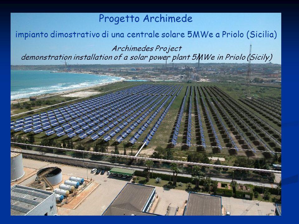 Progetto Archimede impianto dimostrativo di una centrale solare 5MWe a Priolo (Sicilia) Archimedes Project demonstration installation of a solar power plant 5MWe in Priolo (Sicily)