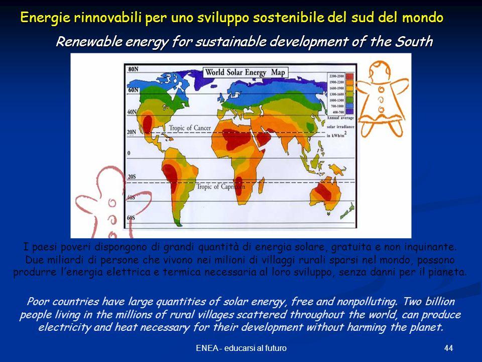 44ENEA - educarsi al futuro Energie rinnovabili per uno sviluppo sostenibile del sud del mondo Renewable energy for sustainable development of the South I paesi poveri dispongono di grandi quantità di energia solare, gratuita e non inquinante.