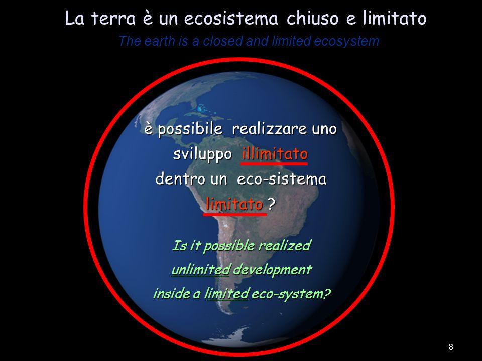 The earth is a closed and limited ecosystem La terra è un ecosistema chiuso e limitato The earth is a closed and limited ecosystem 8 è possibile realizzare uno sviluppo illimitato dentro un eco-sistema limitato .