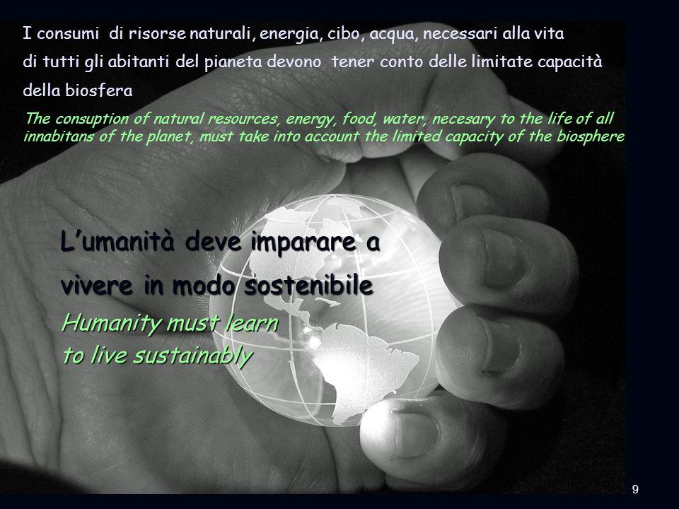 9ENEA - educarsi al futuro I consumi di risorse naturali, energia, cibo, acqua, necessari alla vita di tutti gli abitanti del pianeta devono tener con