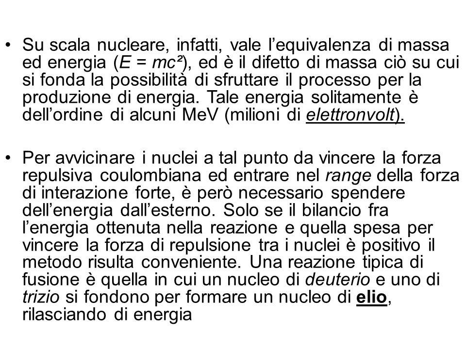 Su scala nucleare, infatti, vale lequivalenza di massa ed energia (E = mc²), ed è il difetto di massa ciò su cui si fonda la possibilità di sfruttare il processo per la produzione di energia.