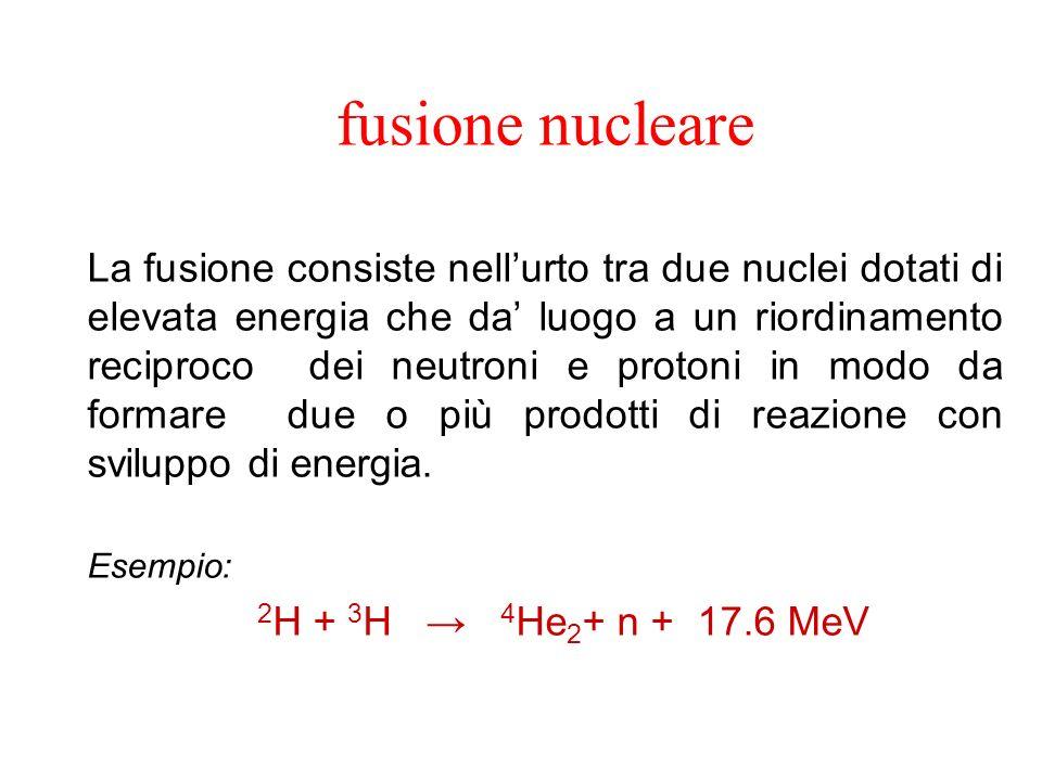 fusione nucleare La fusione consiste nellurto tra due nuclei dotati di elevata energia che da luogo a un riordinamento reciproco dei neutroni e protoni in modo da formare due o più prodotti di reazione con sviluppo di energia.