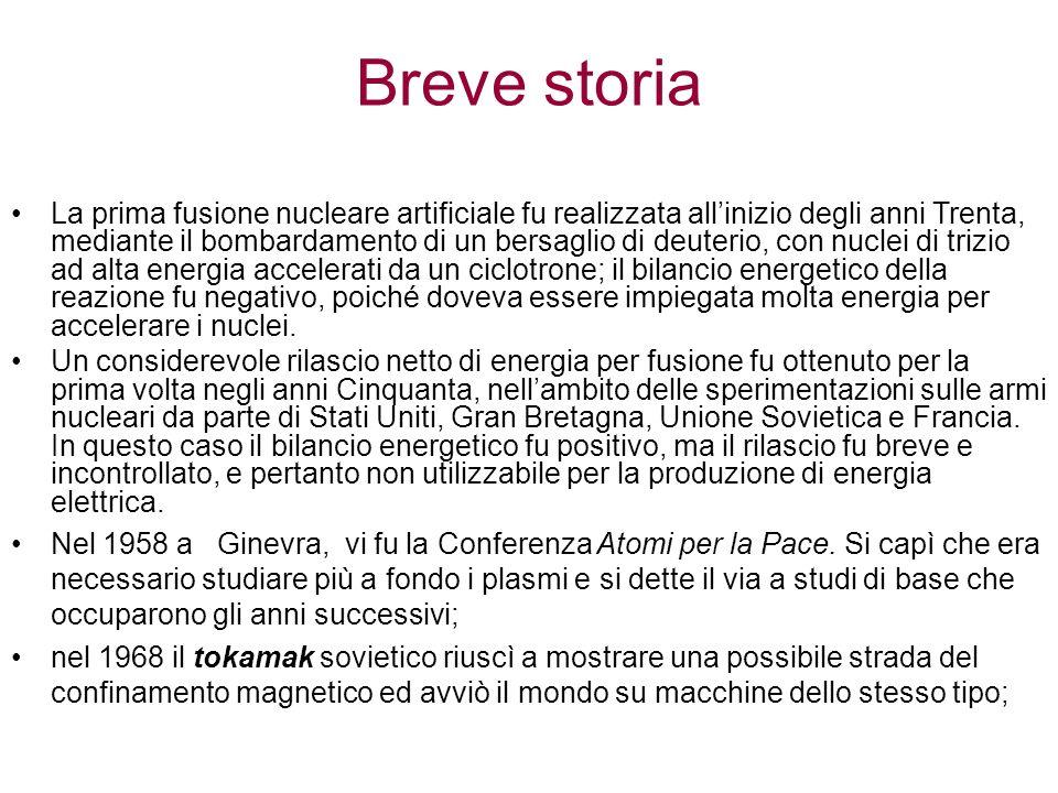La prima fusione nucleare artificiale fu realizzata allinizio degli anni Trenta, mediante il bombardamento di un bersaglio di deuterio, con nuclei di trizio ad alta energia accelerati da un ciclotrone; il bilancio energetico della reazione fu negativo, poiché doveva essere impiegata molta energia per accelerare i nuclei.