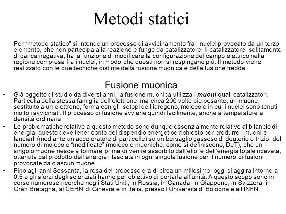 Metodi statici Per metodo statico si intende un processo di avvicinamento fra i nuclei provocato da un terzo elemento, che non partecipa alla reazione e funge da catalizzatore.