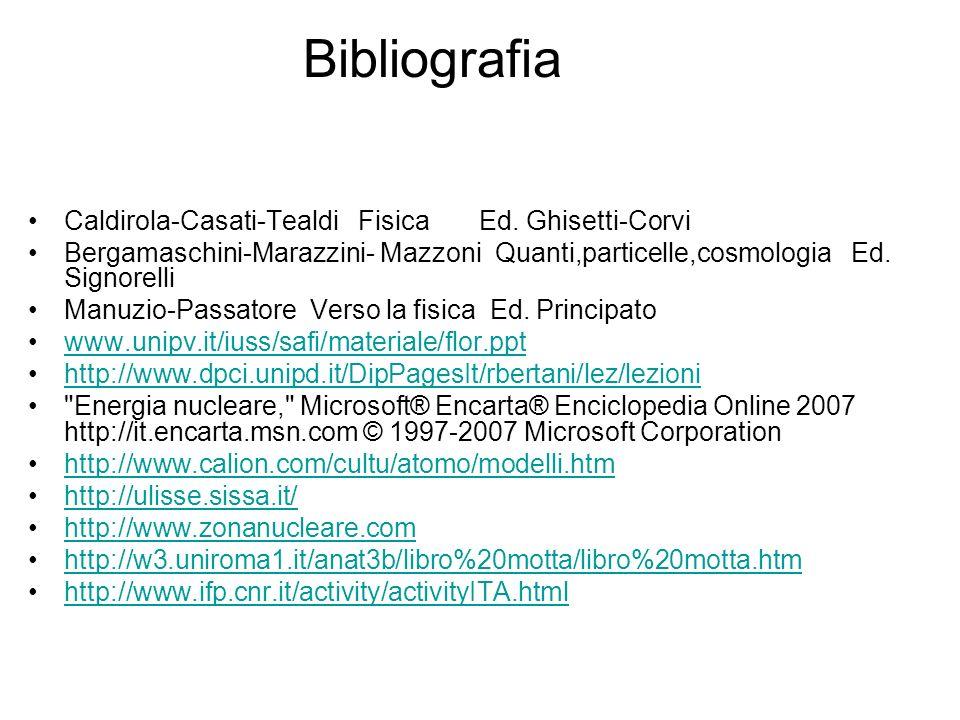 Bibliografia Caldirola-Casati-Tealdi Fisica Ed. Ghisetti-Corvi Bergamaschini-Marazzini- Mazzoni Quanti,particelle,cosmologia Ed. Signorelli Manuzio-Pa