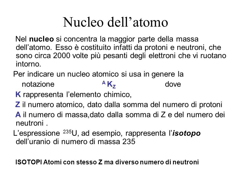 Il nucleo formato da protoni e neutroni Particella massa(kg) carica(C) p+ 1,672623.10 -27 +1,6021177.10 -19 n 0 1,674928.10 -27 0 e- 0.000911.10 -27 -1,6021177.10 -19 Dimensioni nucleo : 10 -15 m (fm) Dimensioni atomo : 10 -10 m ( Ǻ )