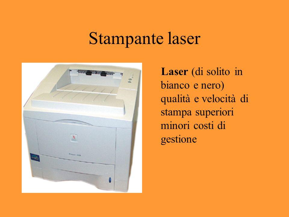 Stampante laser Laser (di solito in bianco e nero) qualità e velocità di stampa superiori minori costi di gestione
