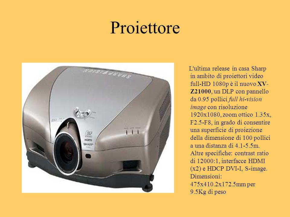 Proiettore L'ultima release in casa Sharp in ambito di proiettori video full-HD 1080p è il nuovo XV- Z21000, un DLP con pannello da 0.95 pollici full