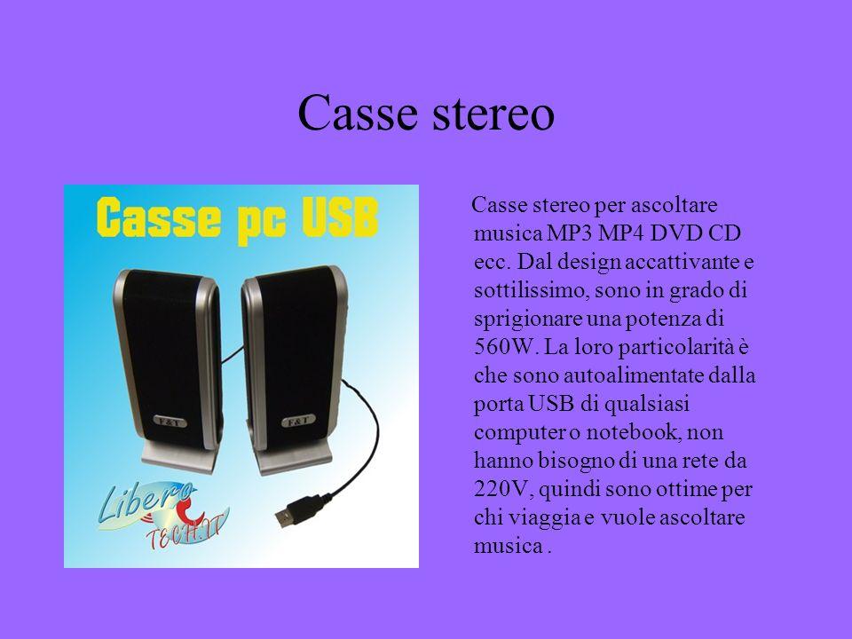 Casse stereo Casse stereo per ascoltare musica MP3 MP4 DVD CD ecc. Dal design accattivante e sottilissimo, sono in grado di sprigionare una potenza di