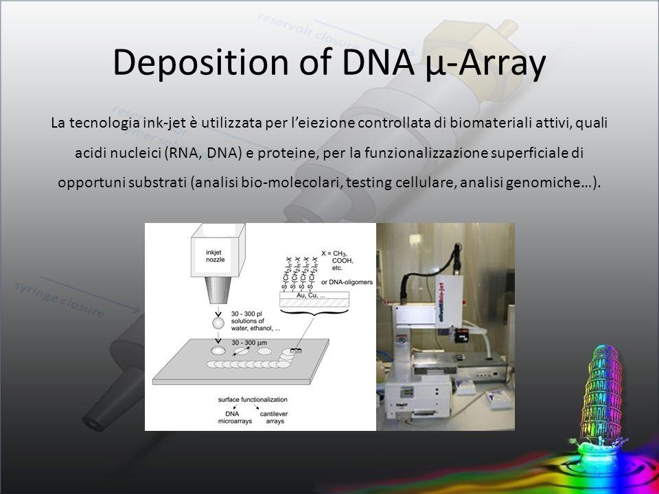 Deposition of DNA µ-Array La tecnologia ink-jet è utilizzata per leiezione controllata di biomateriali attivi, quali acidi nucleici (RNA, DNA) e prote