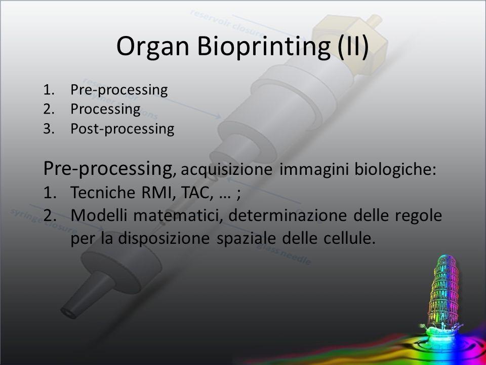 1.Pre-processing 2.Processing 3.Post-processing Pre-processing, acquisizione immagini biologiche: 1.Tecniche RMI, TAC, … ; 2.Modelli matematici, deter