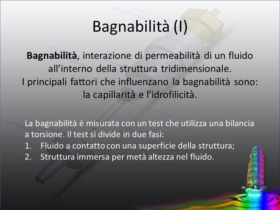 La bagnabilità è misurata con un test che utilizza una bilancia a torsione. Il test si divide in due fasi: 1.Fluido a contatto con una superficie dell