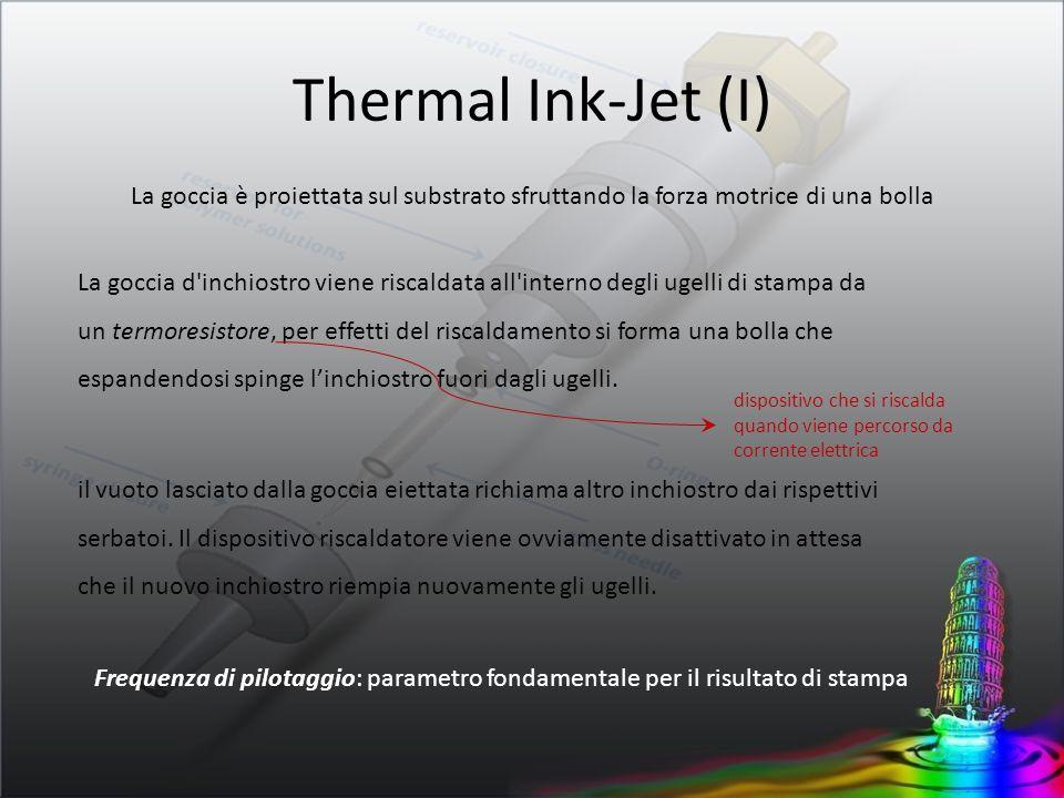 Thermal Ink-Jet (II) Il diametro degli ugelli, la temperatura, le proprietà dellinchiostro (viscosità, densità, bagnabilità, angolo di contatto), sono opportunamente dimensionate in modo che la cinetica della goccia eiettata raggiunga velocità comprese tra 5-12 m/s