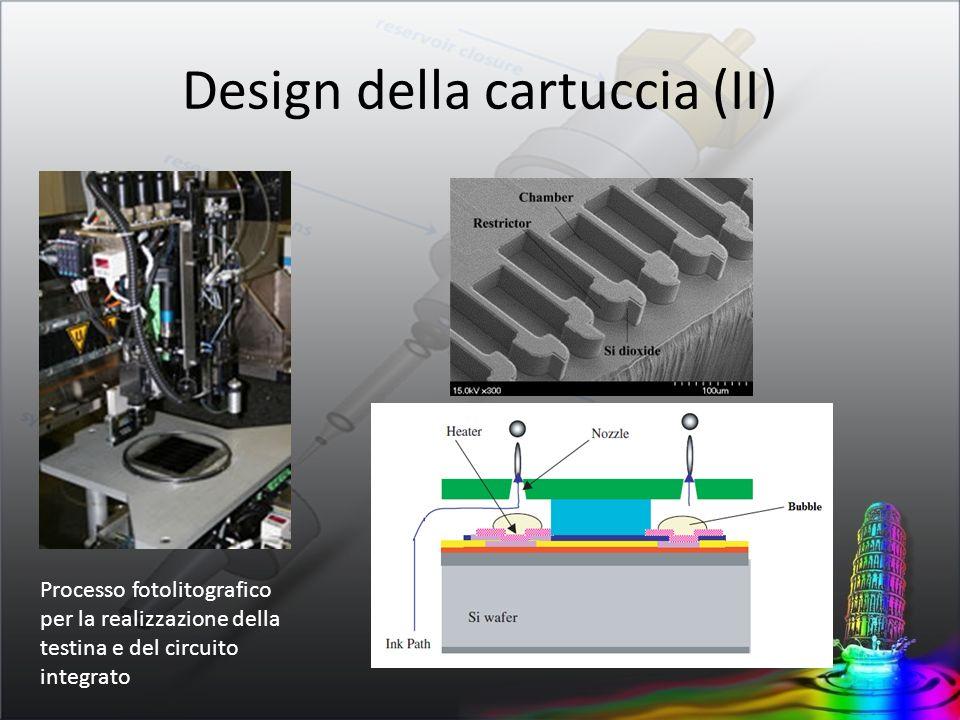 Design della cartuccia (III) Idraulica del chip realizzata per il riempimento ugelli in tempi utili per il pilotaggio e la stampa diametro ugello 10 – 80 µm volumi goccia 20 – 160 pL frequenze pilotaggio < 50 Hz temperature 200 – 300 °C
