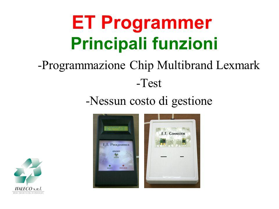 Principali funzioni ET Programmer -Programmazione Chip Multibrand Lexmark -Test -Nessun costo di gestione