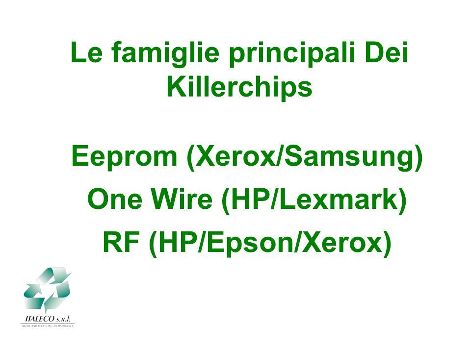 Le famiglie principali Dei Killerchips Eeprom (Xerox/Samsung) One Wire (HP/Lexmark) RF (HP/Epson/Xerox)
