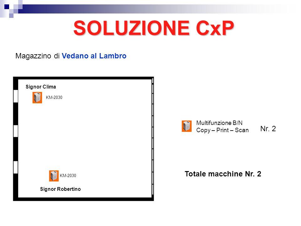 Magazzino di Vedano al Lambro Signor Robertino SOLUZIONE CxP Nr. 2 Multifunzione B/N Copy – Print – Scan Signor Clima KM-2030 Totale macchine Nr. 2