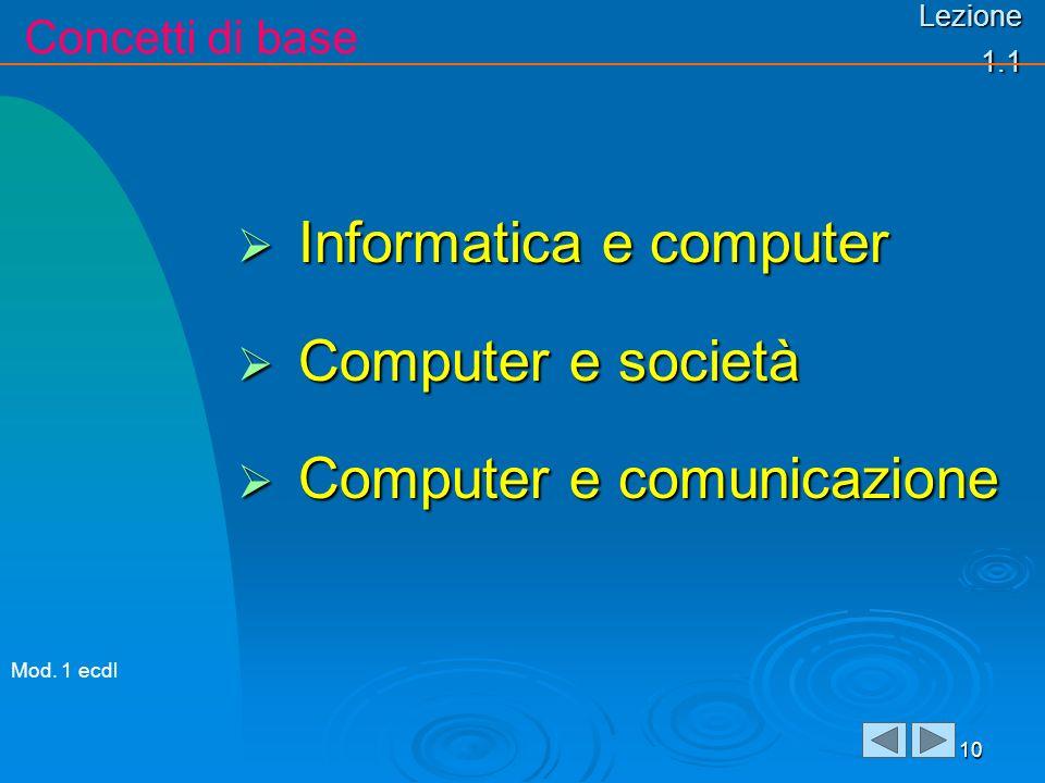 Lezione 1.1 Informatica e computer Informatica e computer Computer e società Computer e società Computer e comunicazione Computer e comunicazione 10 Concetti di base Mod.