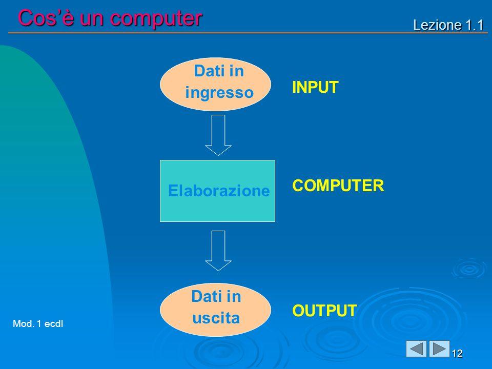 Lezione 1.1 Cosè un computer 12 Dati in ingresso Dati in uscita INPUT COMPUTER OUTPUT Elaborazione Mod. 1 ecdl