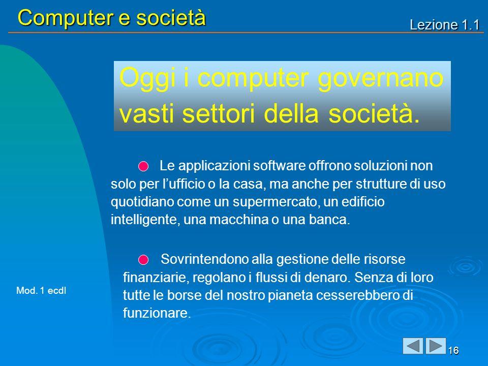 Lezione 1.1 Computer e società 16 Oggi i computer governano vasti settori della società. Sovrintendono alla gestione delle risorse finanziarie, regola