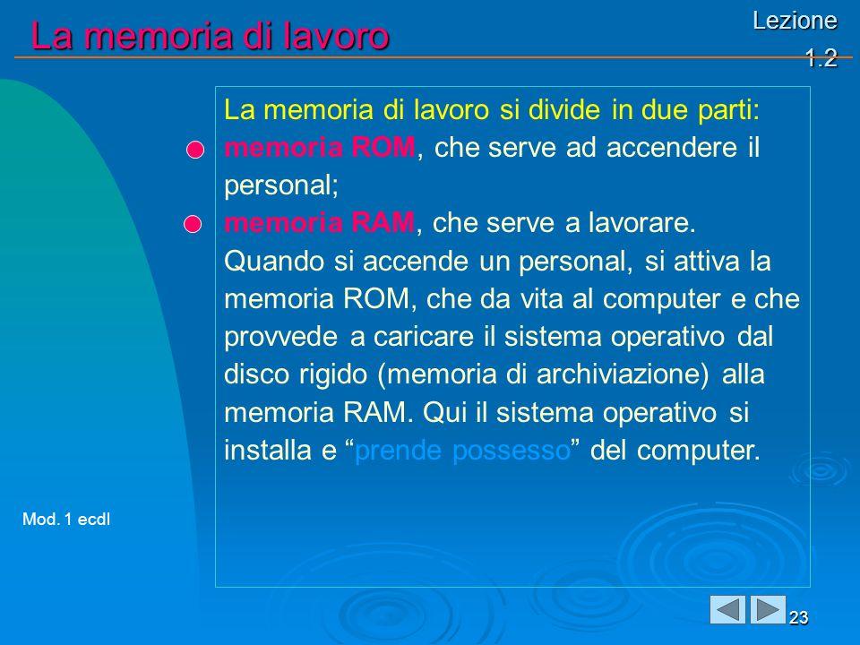 Lezione 1.2 La memoria di lavoro 23 La memoria di lavoro si divide in due parti: memoria ROM, che serve ad accendere il personal; memoria RAM, che ser