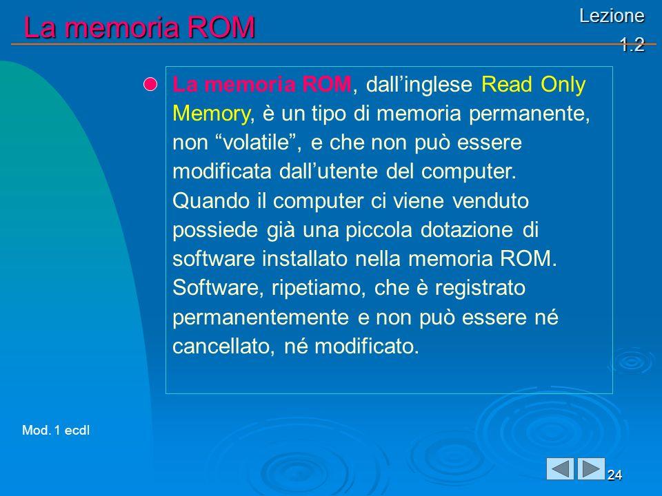 Lezione 1.2 La memoria ROM 24 La memoria ROM, dallinglese Read Only Memory, è un tipo di memoria permanente, non volatile, e che non può essere modificata dallutente del computer.