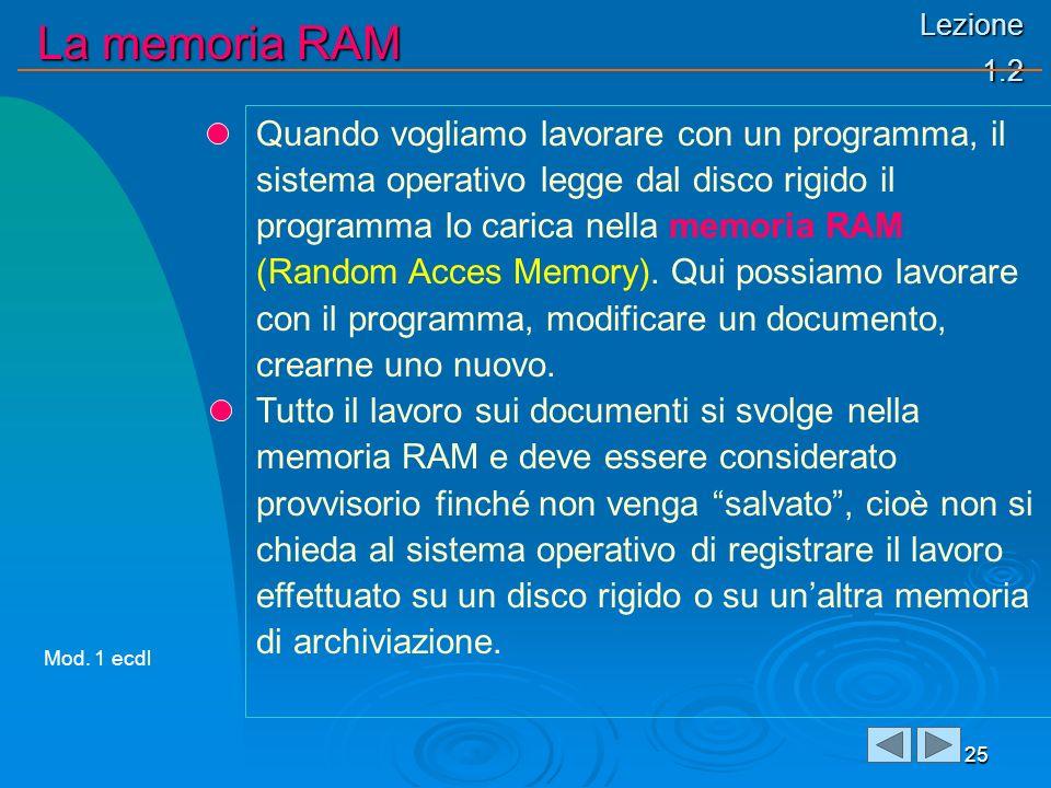 Lezione 1.2 La memoria RAM 25 Quando vogliamo lavorare con un programma, il sistema operativo legge dal disco rigido il programma lo carica nella memoria RAM (Random Acces Memory).