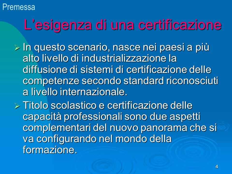 Lesigenza di una certificazione In questo scenario, nasce nei paesi a più alto livello di industrializzazione la diffusione di sistemi di certificazione delle competenze secondo standard riconosciuti a livello internazionale.