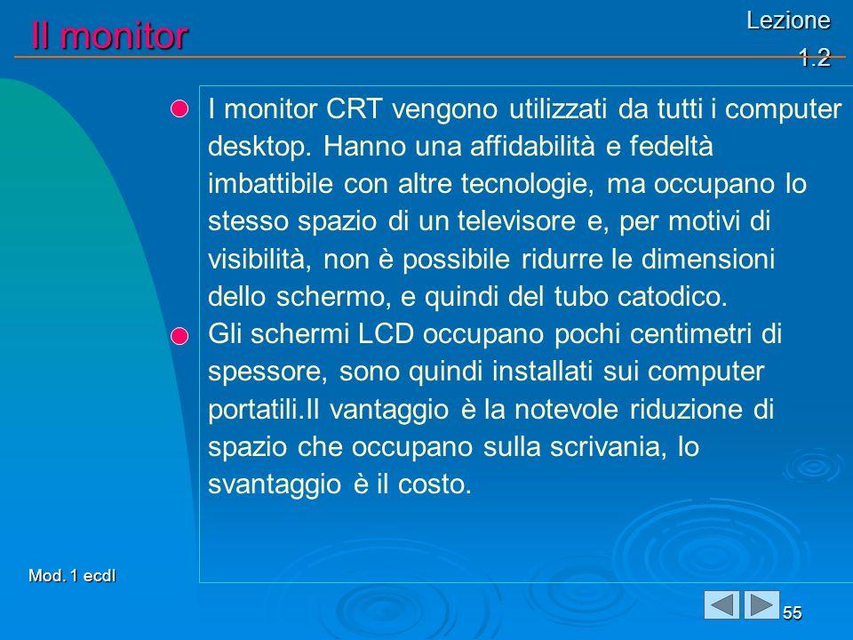 Lezione 1.2 Il monitor 55 I monitor CRT vengono utilizzati da tutti i computer desktop. Hanno una affidabilità e fedeltà imbattibile con altre tecnolo