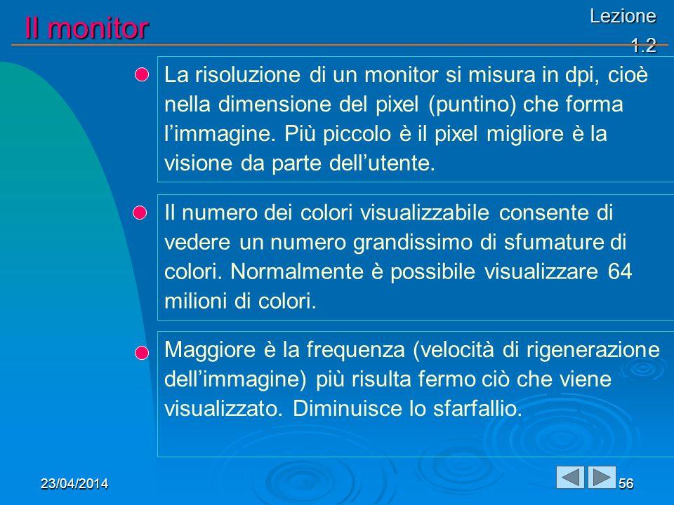 Lezione 1.2 Il monitor 23/04/201456 La risoluzione di un monitor si misura in dpi, cioè nella dimensione del pixel (puntino) che forma limmagine.