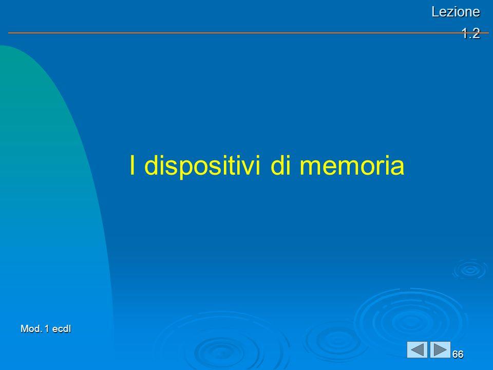 Lezione 1.2 66 I dispositivi di memoria Mod. 1 ecdl